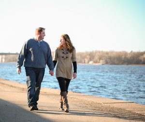 RK Photo and design, engagement walking along the river