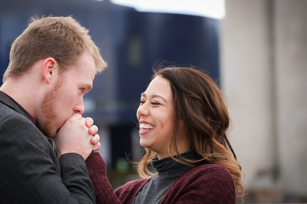 stone arch bridge engagement photography