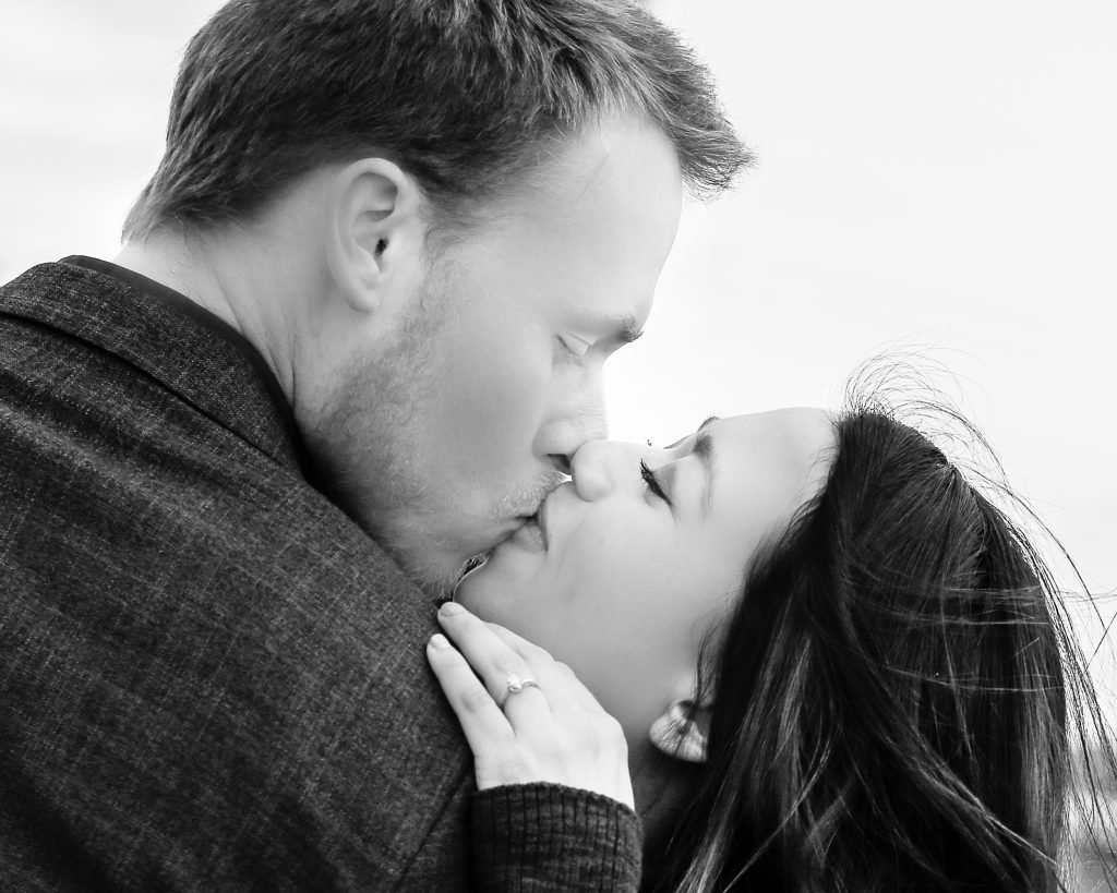 black and white kiss. Minneapolis MN engagement photography