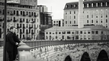 Ali + Andrew.  Engagement Photos at Stone Arch Bridge and Mill Ruins Park