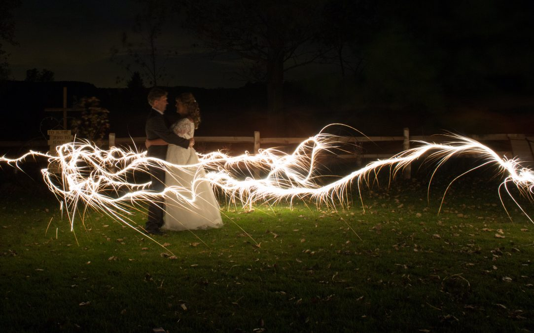 wedding photo, backyard wedding, wedding sparkler